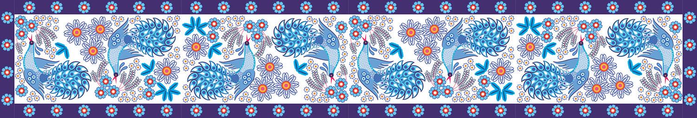 Хохлома с синими птицами, дизайн #06039