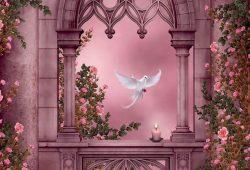 Стрельчатое окно в розах, дизайн #06041