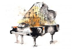 Рисованный рояль с фантазией, дизайн #06092