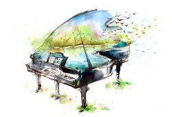 Рисованный рояль с природой, дизайн #06093