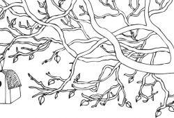 Ветка со скворечником, дизайн #07105
