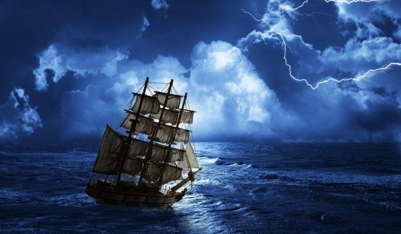 Римские шторы Корабль в шторм, дизайн #08183