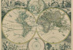 Старинная карта «Новый мир», дизайн #08271
