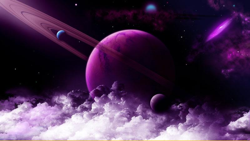Фотообои под заказ Фиолетовая планета, дизайн #08464